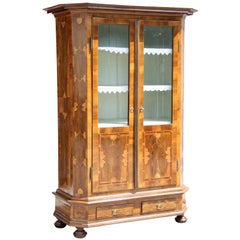 19th Century Nutwood Bookcase/ Cupboard with Marquetry, Austria, circa 1890