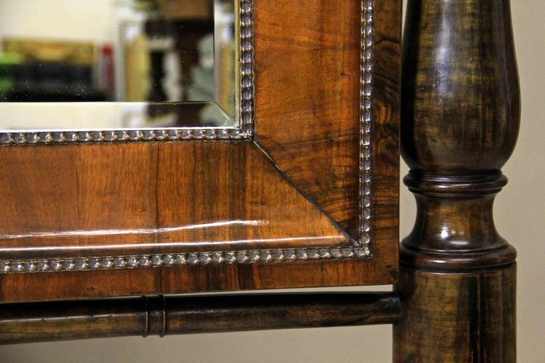 Faceted 19th Century Nutwood Cheval Mirror Early Biedermeier Period, Austria, circa 1825 For Sale