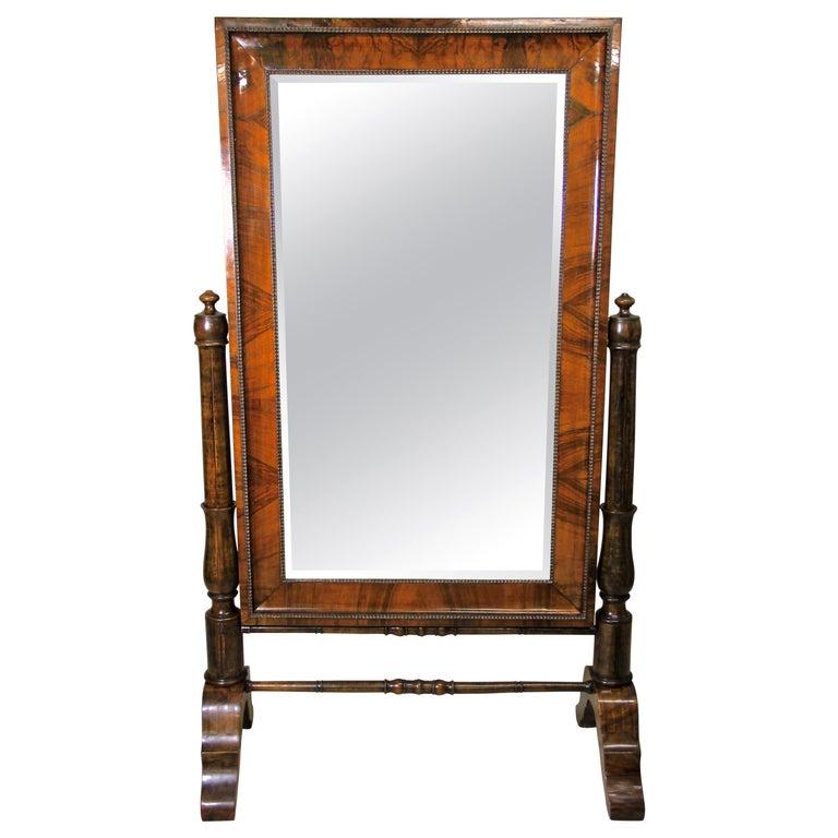 19th Century Nutwood Cheval Mirror Early Biedermeier Period, Austria, circa 1825 For Sale
