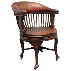 19th Century Oak and Leather Swivel Desk Chair