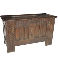 19th Century Oak Coffer, Trunk, Chest of Arms