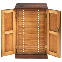 19th Century Oak Coin or Collectors Cabinet