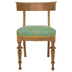 19th Century Oak Danish Klismos Chair Re-Upholstered in 1930s Silk Fabric, 1860