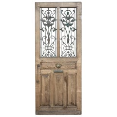 19th Century Oak Entry Door with Wrought Iron