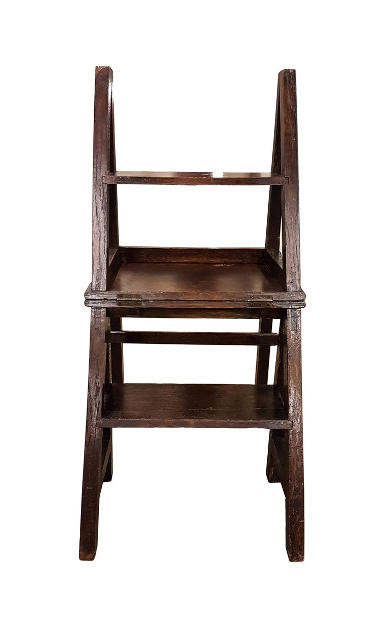 19th Century Oak Gothic Revival Metamorphic Chair or Steps For Sale 3