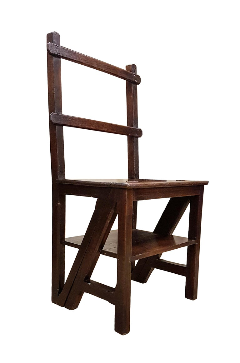 English 19th Century Oak Gothic Revival Metamorphic Chair or Steps For Sale