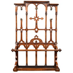 19th Century Oak Hall Stand in the Manner of Pugin
