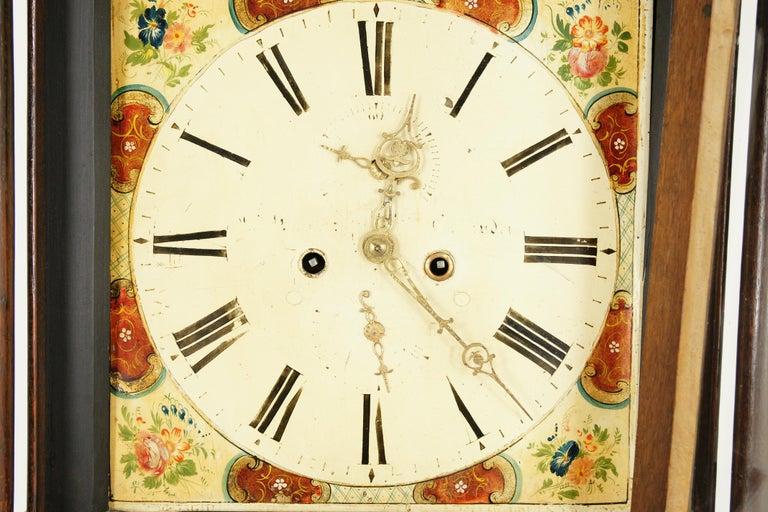 Scottish 19th Century Oak Longcase Grandfather Clock 8 Day Works, Scotland 1850, B1711 For Sale
