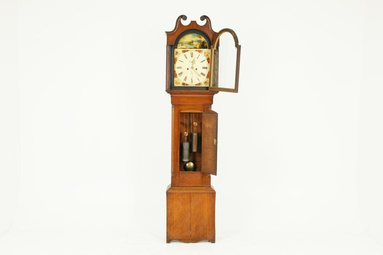 Hand-Crafted 19th Century Oak Longcase Grandfather Clock 8 Day Works, Scotland 1850, B1711 For Sale