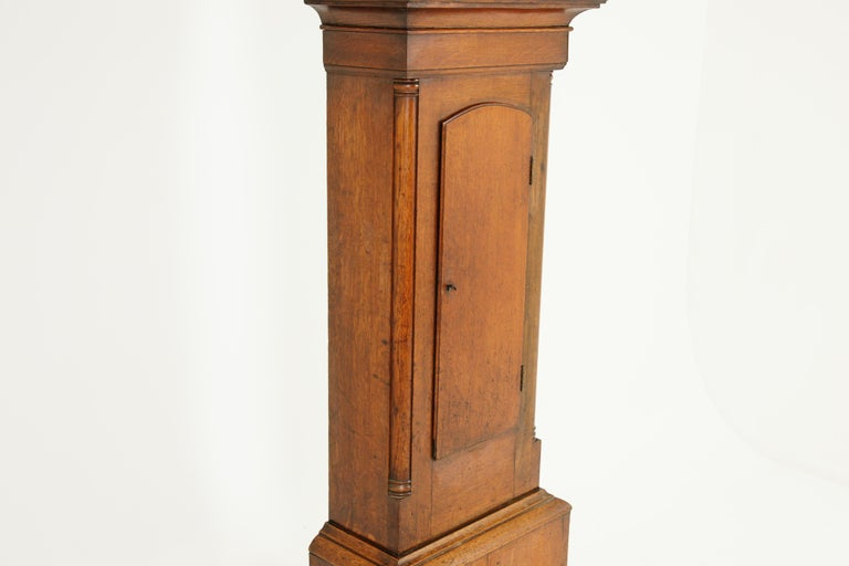 19th Century Oak Longcase Grandfather Clock 8 Day Works, Scotland 1850, B1711 In Good Condition For Sale In Vancouver, BC