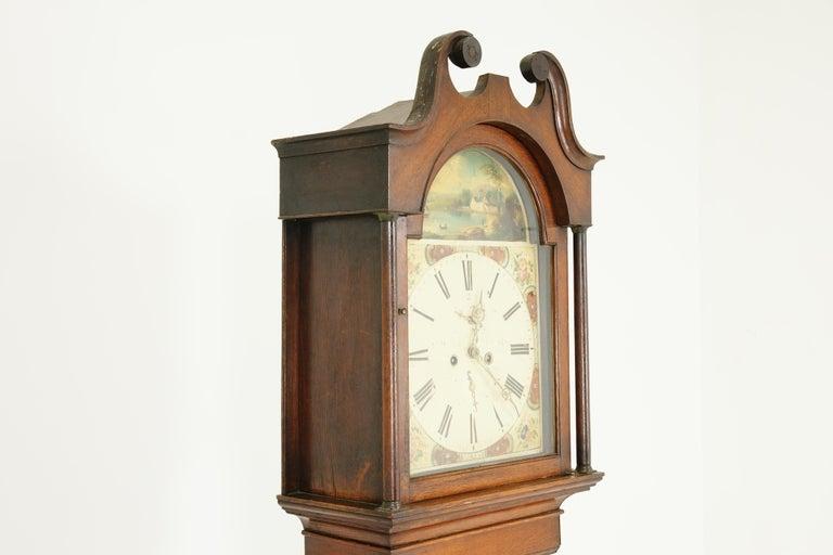 Mid-19th Century 19th Century Oak Longcase Grandfather Clock 8 Day Works, Scotland 1850, B1711 For Sale