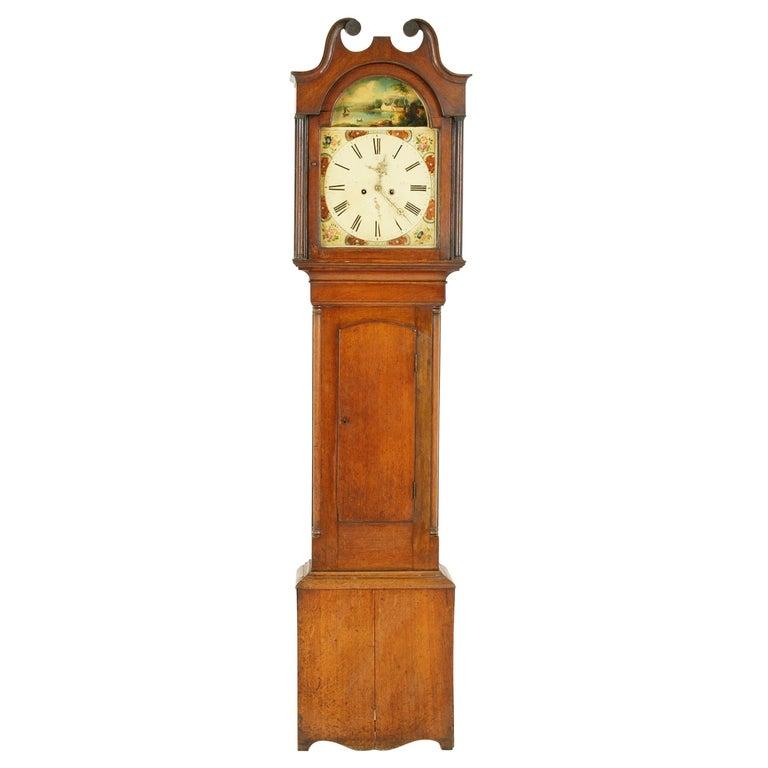 19th Century Oak Longcase Grandfather Clock 8 Day Works, Scotland 1850, B1711 For Sale