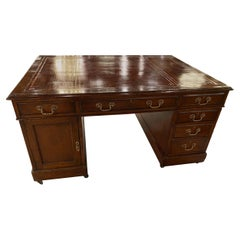 19th Century Oak Partners Desk, Leather Writing Surface, Brass Hardware