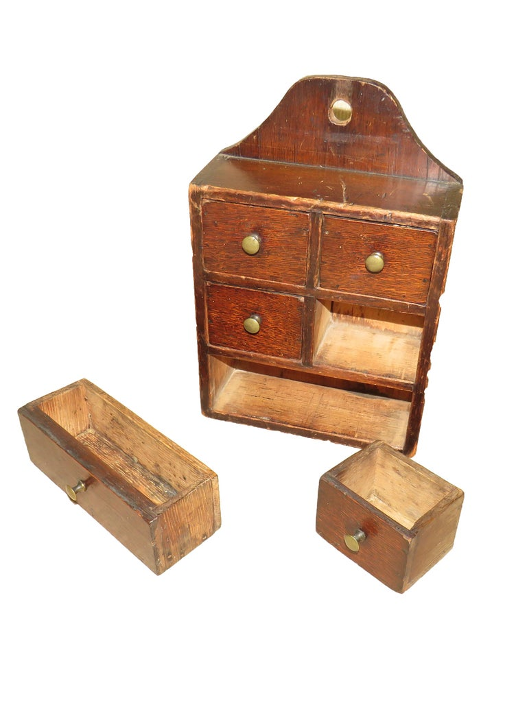 Victorian 19th Century Oak and Pine Wall Hanging Spice Box For Sale