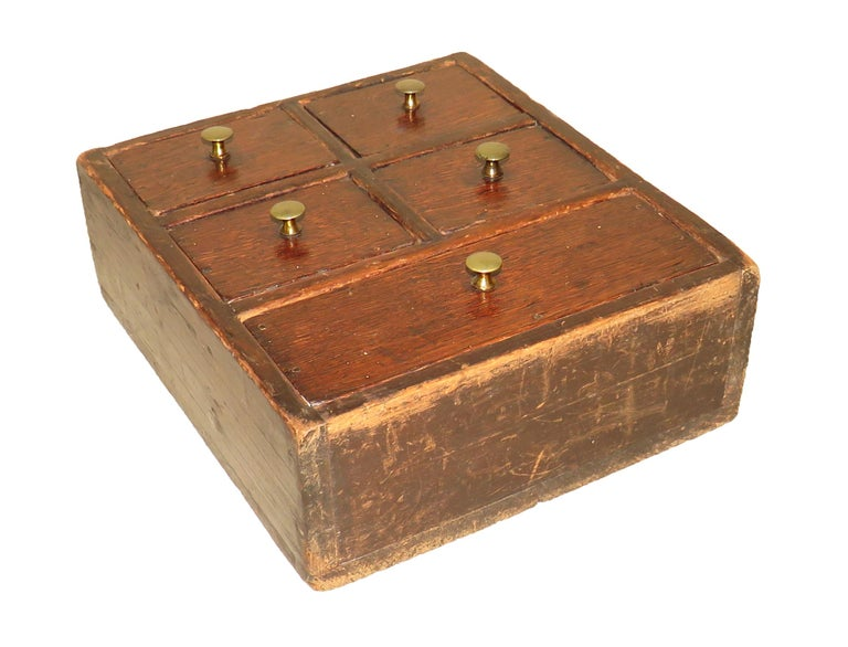 19th Century Oak and Pine Wall Hanging Spice Box For Sale 1