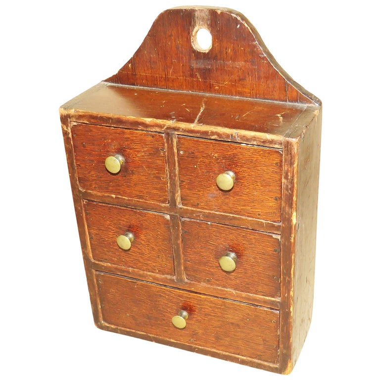 19th Century Oak and Pine Wall Hanging Spice Box