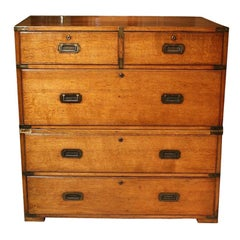 19th Century Oak Victorian Campaign Chest of Drawers