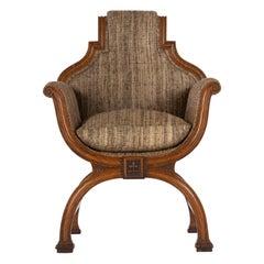 19th Century Oak X-Frame Armchair