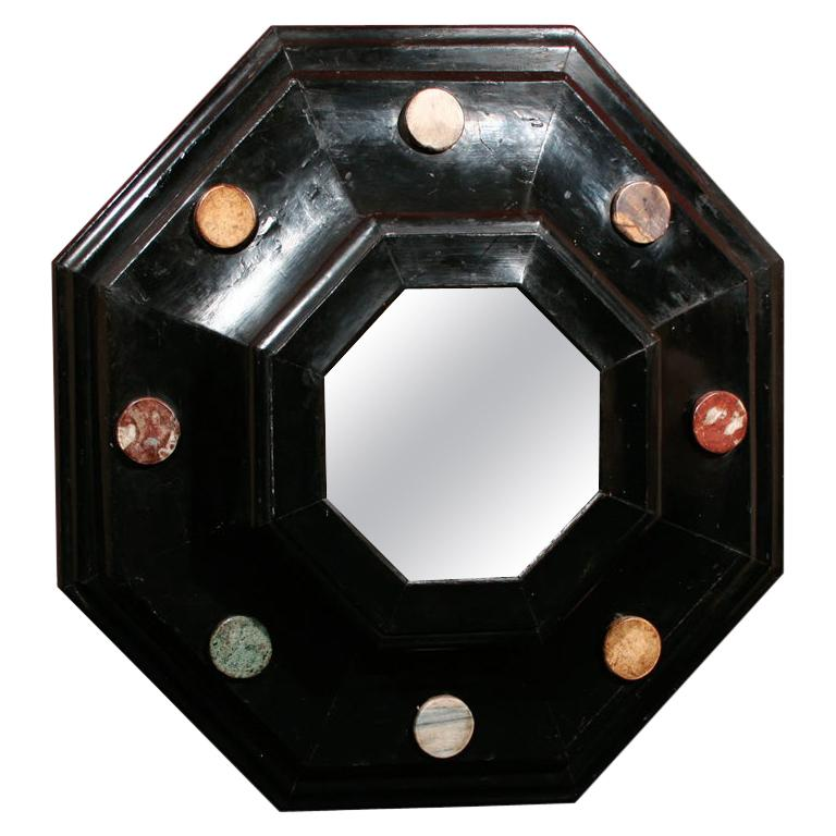 19th Century Octagonal Ebonized and Marble Medallion Mirror For Sale