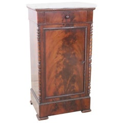 19th Century of the Period Charles X Mahogany Antique Nightstand with Marble Top