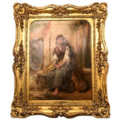 19th Century Oil Canvas Painting by Thomas Kent Pelham of a Young Girl