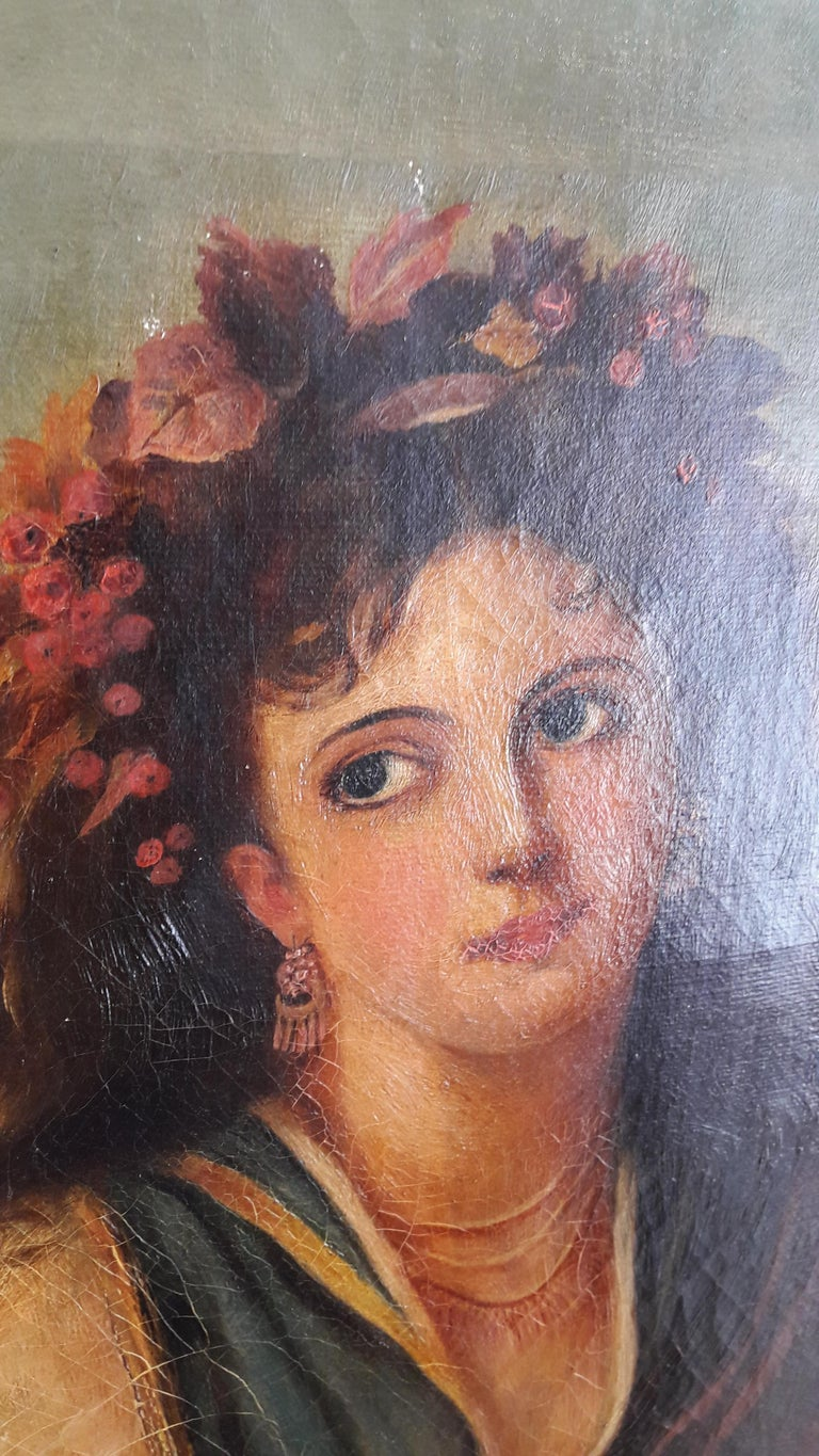 19th Century Oil of a Lady In Good Condition For Sale In Antwerp, Antwerp
