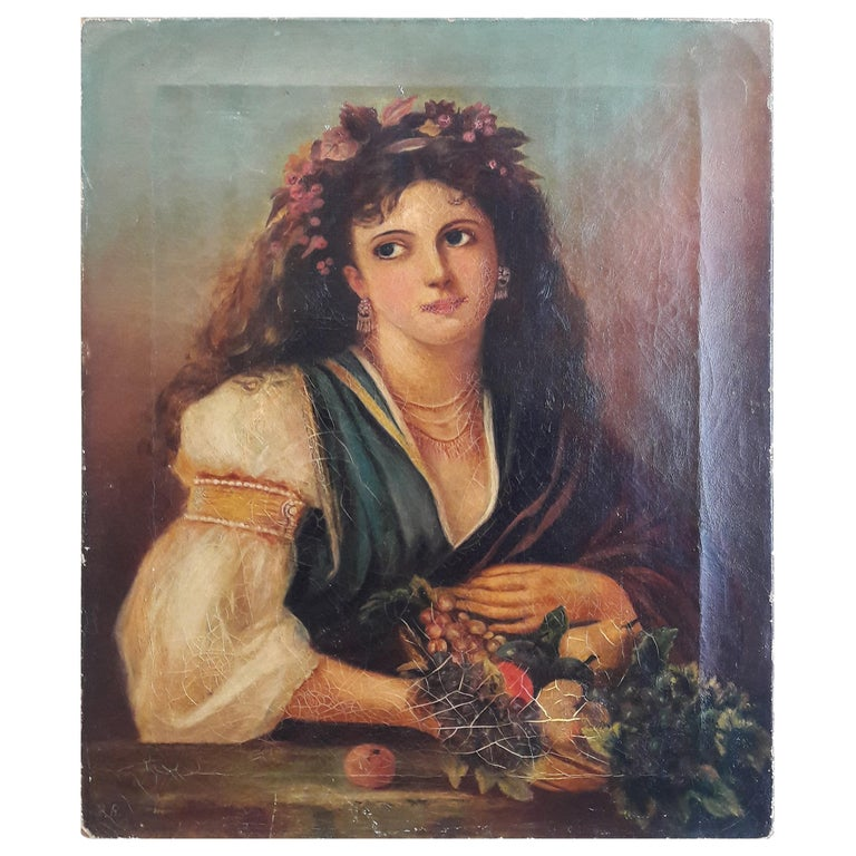 19th Century Oil of a Lady For Sale