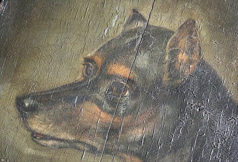 19th Century Oil on Board, English Toy Terrier Dog Folk Art For Sale 4