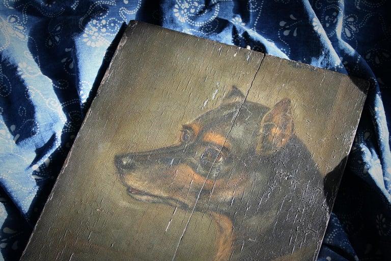 19th Century Oil on Board, English Toy Terrier Dog Folk Art For Sale 2
