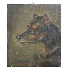 19th Century Oil on Board, English Toy Terrier Dog Folk Art