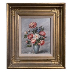 "19th Century Oil on Board, ""Flowers"" Signed W. Lander, English"