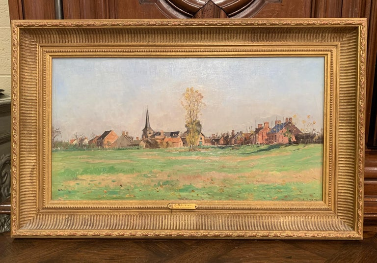 19th Century Oil on Board Landscape Painting in Gilt Frame Signed A. Sauzay In Excellent Condition For Sale In Dallas, TX