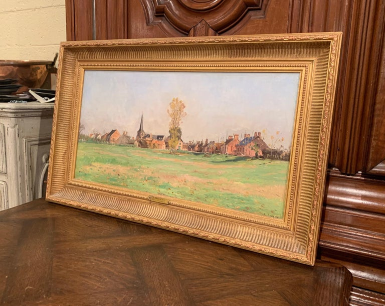 19th Century Oil on Board Landscape Painting in Gilt Frame Signed A. Sauzay For Sale 3