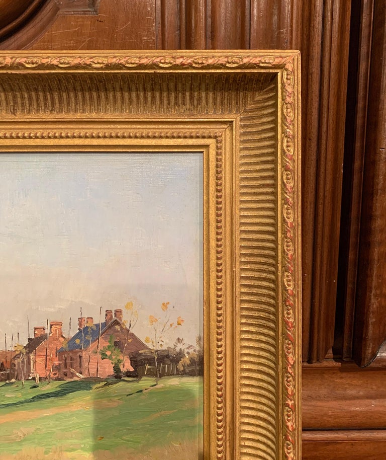 19th Century Oil on Board Landscape Painting in Gilt Frame Signed A. Sauzay For Sale 4
