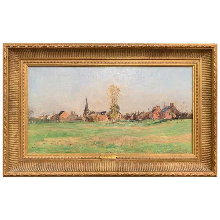 19th Century Oil on Board Landscape Painting in Gilt Frame Signed A. Sauzay For Sale