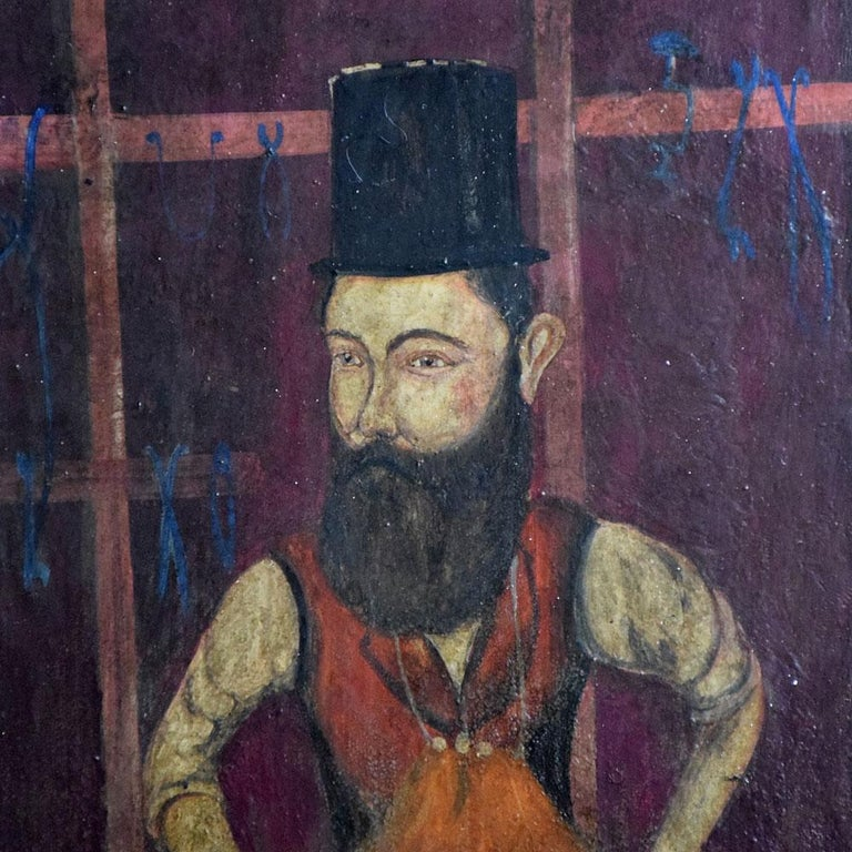 19th century oil on board of a blacksmith. We are proud to offer a mid-19th century oil on wooden board painting of a blacksmith at work. Painted in the Russian style of naïve folk art, this example shows a sinister looking blacksmith with top hat