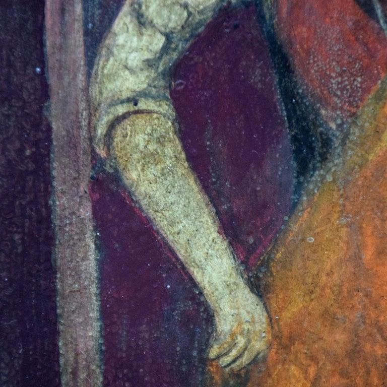 Folk Art 19th Century Oil on Board of a Blacksmith For Sale