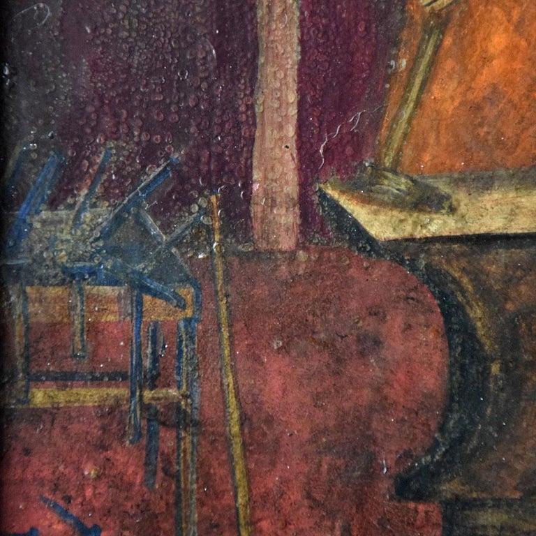 Austrian 19th Century Oil on Board of a Blacksmith For Sale