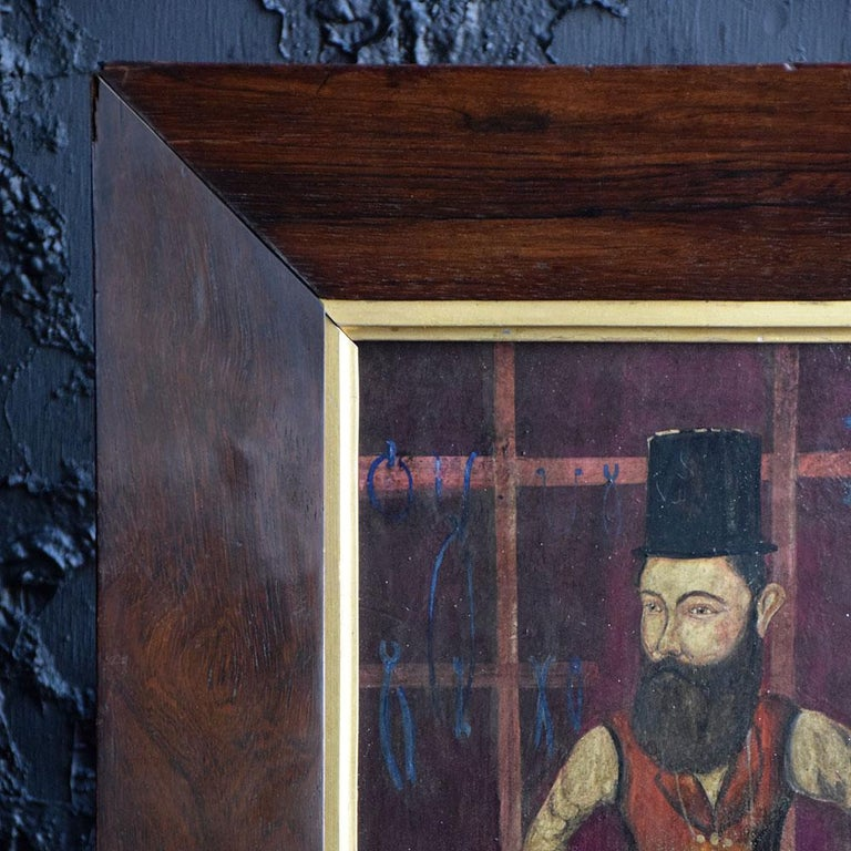 Hand-Painted 19th Century Oil on Board of a Blacksmith For Sale