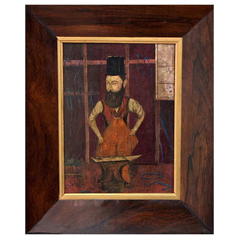 19th Century Oil on Board of a Blacksmith For Sale