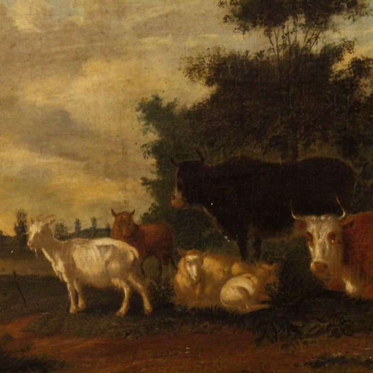 19th Century Oil on Canvas Antique Dutch Landscape with Animals Painting, 1870 For Sale 6
