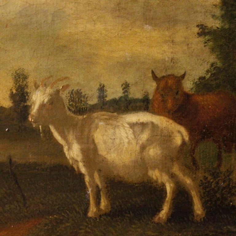 19th Century Oil on Canvas Antique Dutch Landscape with Animals Painting, 1870 For Sale 7