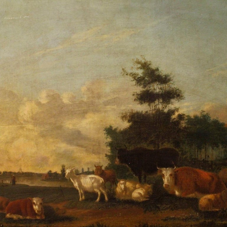 19th Century Oil on Canvas Antique Dutch Landscape with Animals Painting, 1870 For Sale 8