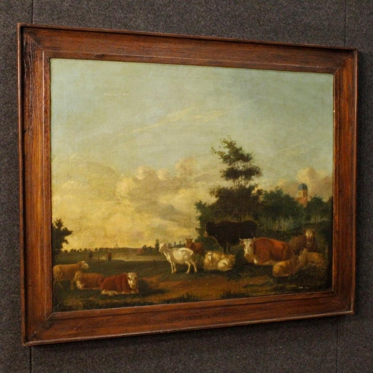 Antique 19th century Dutch painting. Framework oil on canvas depicting a pleasant Nordic landscape with animals of good pictorial quality. Framework of good measure and impact for antique dealers and collectors of Flemish painting. Frame from 20th