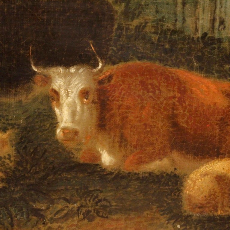 19th Century Oil on Canvas Antique Dutch Landscape with Animals Painting, 1870 In Good Condition For Sale In Vicoforte, Piedmont