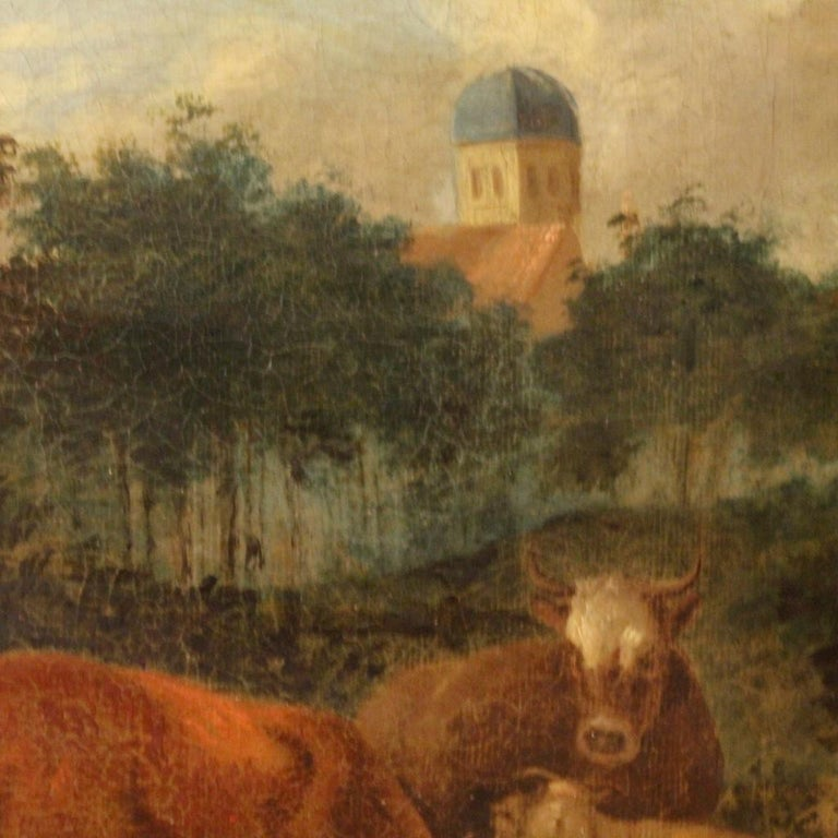 Late 19th Century 19th Century Oil on Canvas Antique Dutch Landscape with Animals Painting, 1870 For Sale