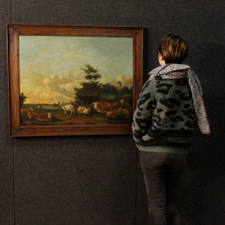 19th Century Oil on Canvas Antique Dutch Landscape with Animals Painting, 1870 For Sale 1