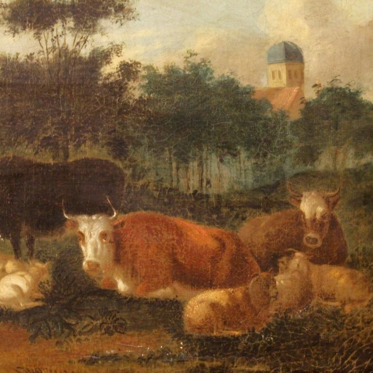 19th Century Oil on Canvas Antique Dutch Landscape with Animals Painting, 1870 For Sale 4