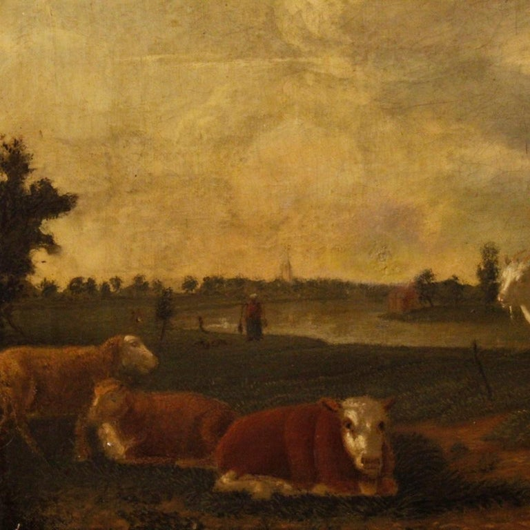 19th Century Oil on Canvas Antique Dutch Landscape with Animals Painting, 1870 For Sale 5
