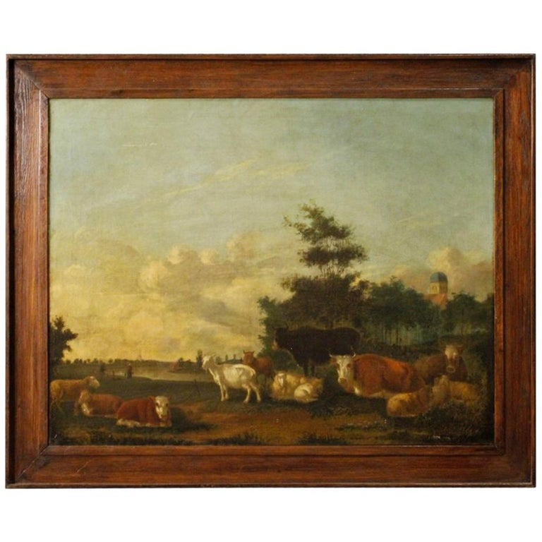 19th Century Oil on Canvas Antique Dutch Landscape with Animals Painting, 1870 For Sale